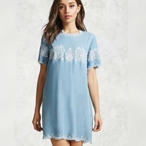 Forever 21 Embroidered Chambray Dress